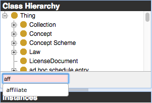 A search input field that shows autocomplete of the word affiliate