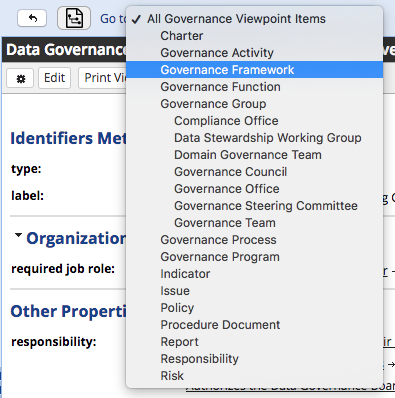 Data Governance Selection Menu